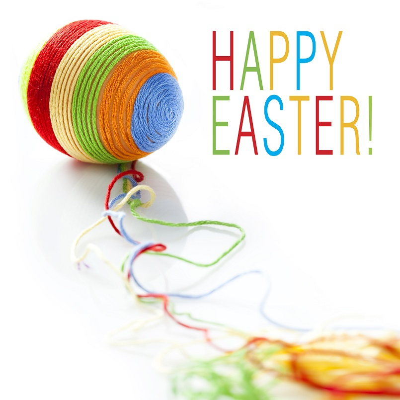 Colorful wool yarns unwraped from easter egg. Space for text isolated on solid white background